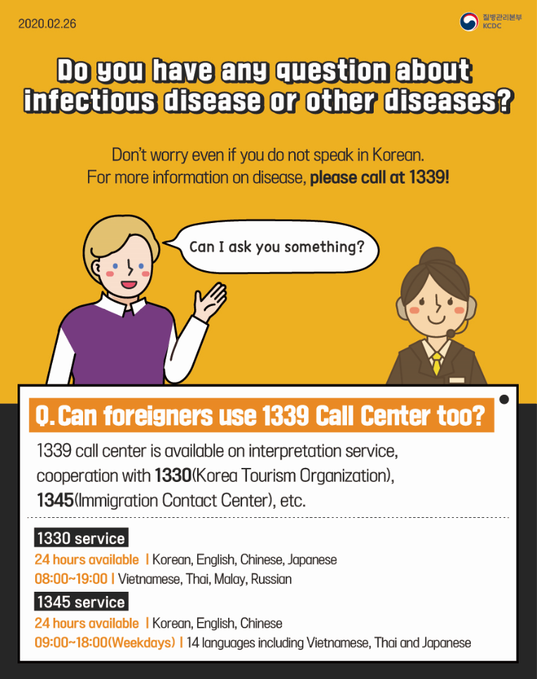 2020.02.26 Do you have any question about infectious disease or other diseases? Don't worry even if you do not speak in Korean For more information on disease, please call at 1339 Can I ask you something? Q. Can foreigners use 1339 Call Center too? 1339 call center is available on interpretation service, cooperation with 1330(Korea Tourism Organization), 1345(Immigration Contact Center), etc. 1330 service, 24 hours availableㅣKorean, English, Chinese, Japanese 08:00~19:00ㅣVietnamese, Thai, Malay, Russian, 1345 service, 24 hours available ㅣKorean, English, Chinese, 09:00~18:00(Weekdays)ㅣ14 languages including Vietnamese, Thai and Japanese