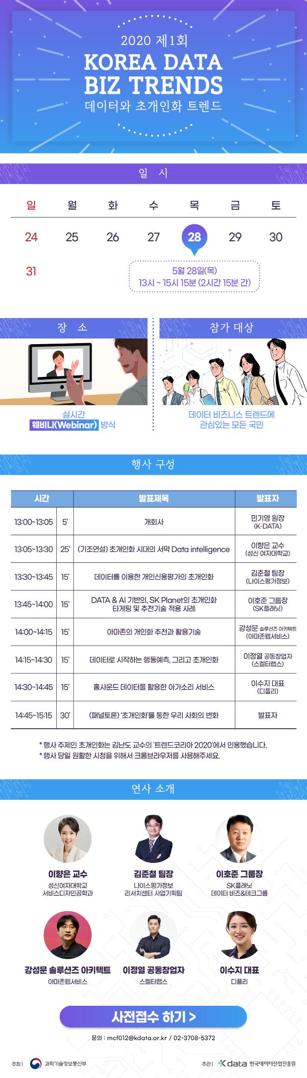 2020 제1회 KOREA DATA-BIZ TRENDS 데이터와 초개인화 트렌드 일시 5월 28일 목요일 13시부터 15시 15분 2시간 15분 간 장소 실시간 웨비나 방식 참가대상 데이터 비즈니스 트렌드에 관심있는 모든 국민