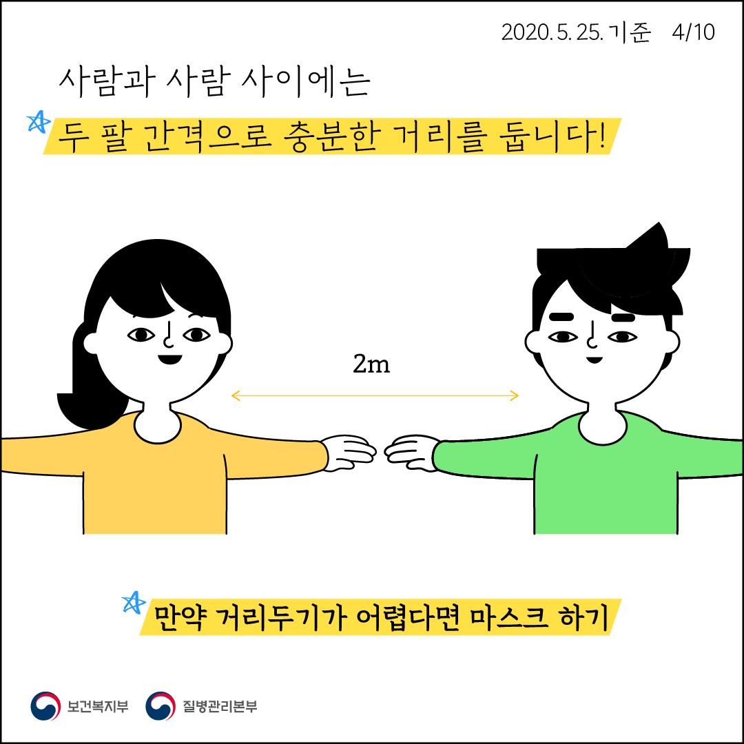 사람과 사람 사이에는 두 팔 간격으로 충분한 거리를 둡니다 만약 거리두기가 어렵다면 마스크 하기