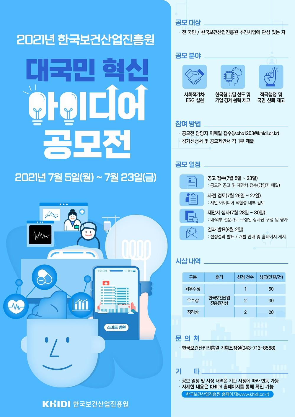 2021년 한국보건산업진흥원 대국민 혁신 아이디어 공모전 2021년 7월 5일(목)~7월23일(금) 자세한 내용은 첨부된 파일을 다운받아 확인해 주세요.